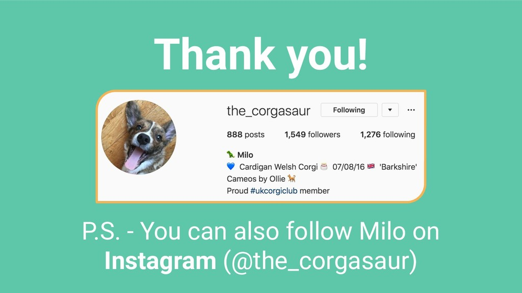 Thank you! P.S. - You can also follow Milo on I...