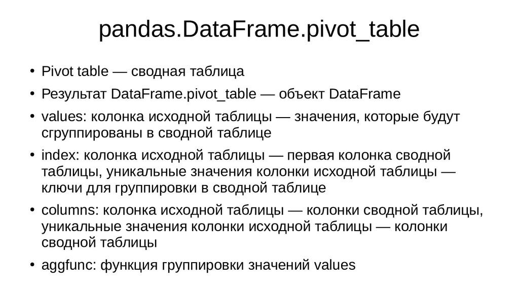 pandas.DataFrame.pivot_table ● Pivot table — св...