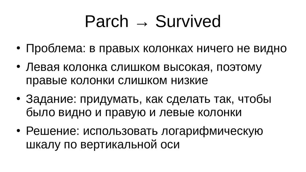 Parch → Survived ● Проблема: в правых колонках ...