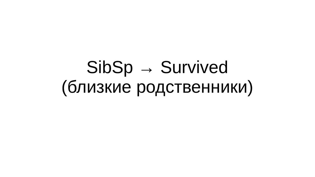 SibSp → Survived (близкие родственники)