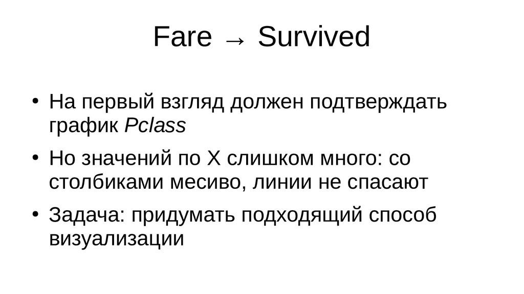 Fare → Survived ● На первый взгляд должен подтв...