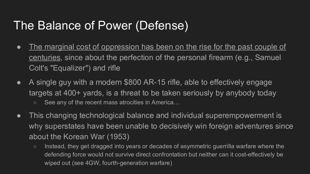 The Balance of Power (Defense) ● The marginal c...
