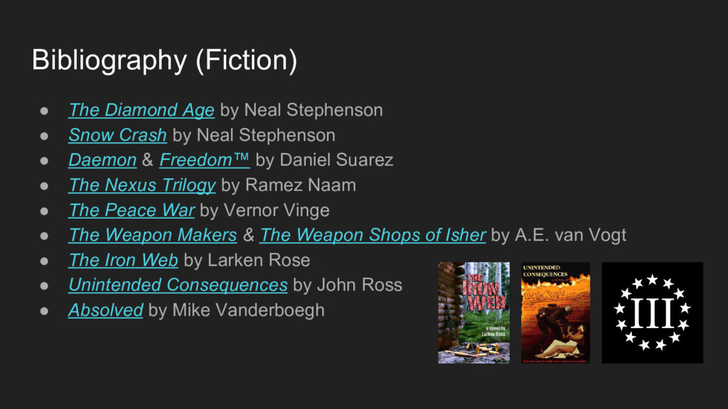 Bibliography (Fiction) ● The Diamond Age by Nea...