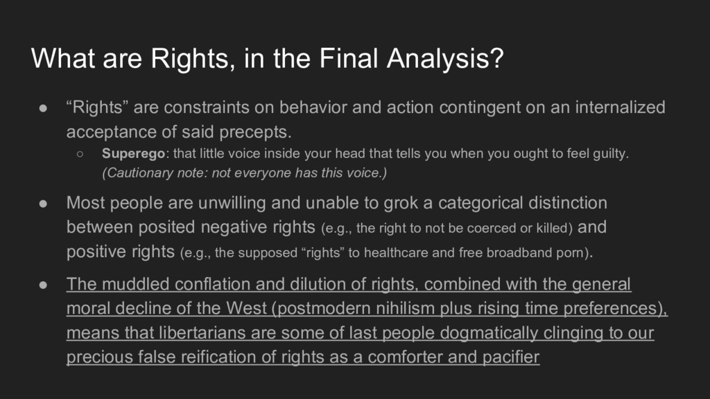 """● """"Rights"""" are constraints on behavior and acti..."""