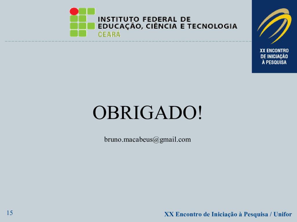 15 XX Encontro de Iniciação à Pesquisa / Unifor...