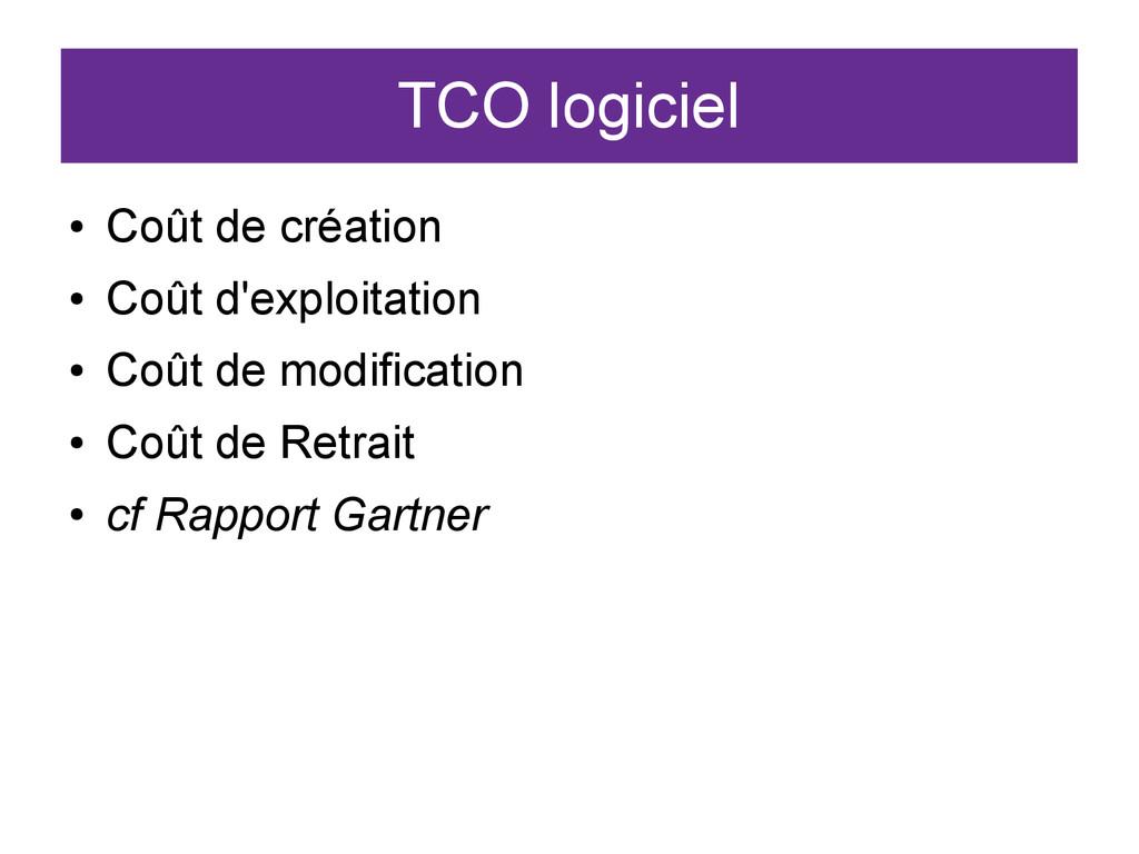TCO logiciel ● Coût de création ● Coût d'exploi...