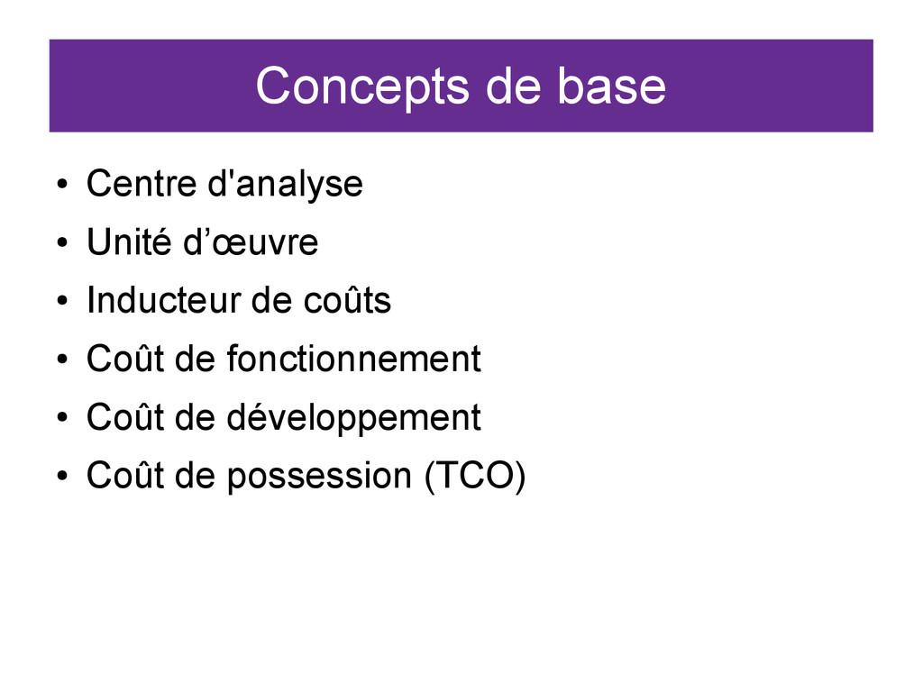 Concepts de base ● Centre d'analyse ● Unité d'œ...
