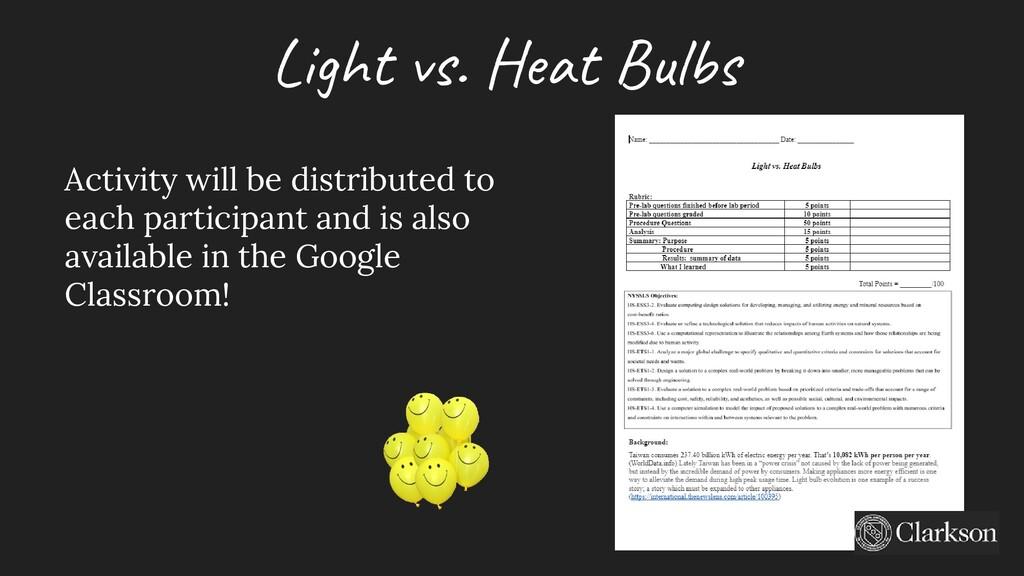 Light vs. Heat Bulbs Activity will be distribut...