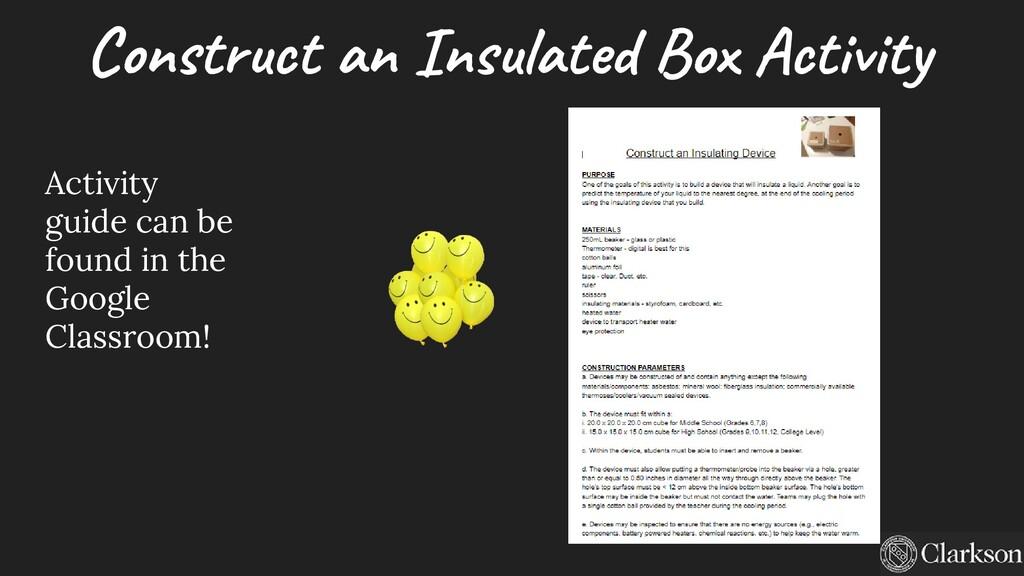Construct an Insulated Box Activity Activity gu...
