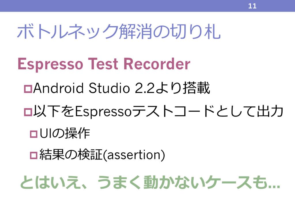 ボトルネック解消の切り札 Espresso Test Recorder pAndroid St...