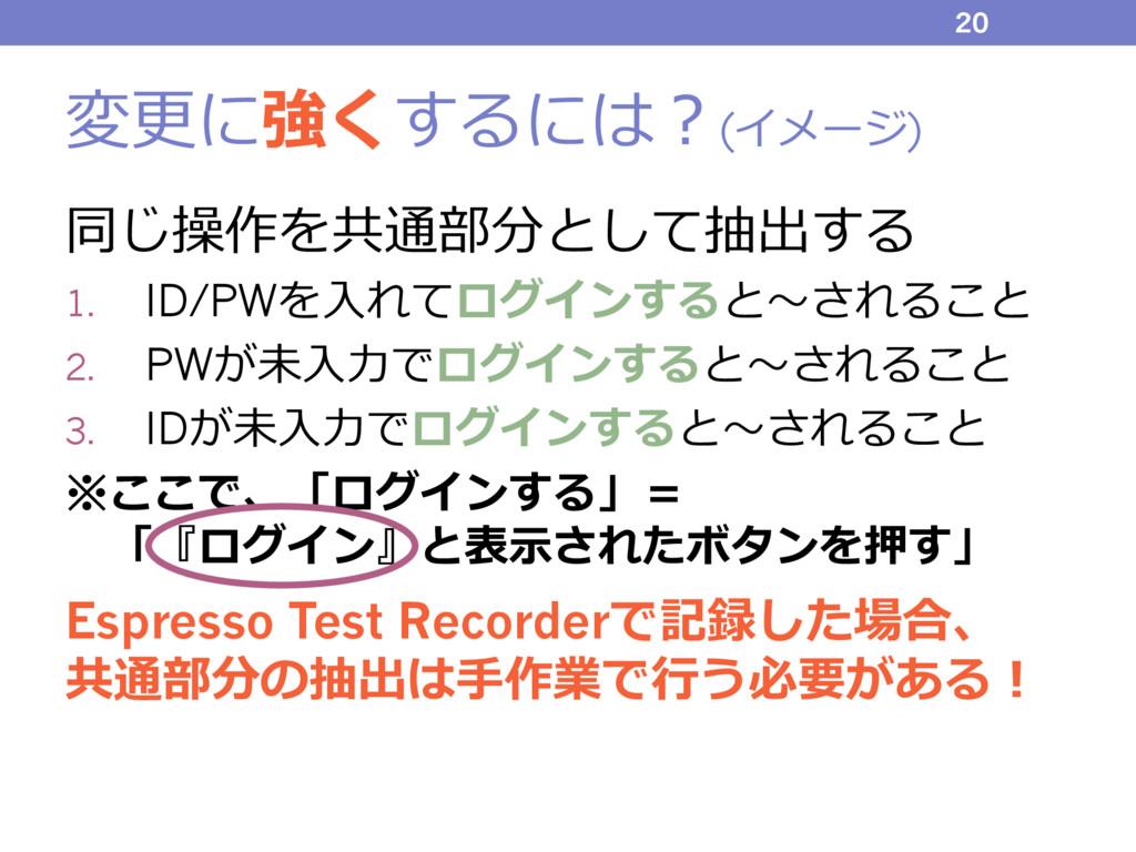 変更に強くするには?(イメージ) 同じ操作を共通部分として抽出する 1. ID/PWを⼊れてロ...