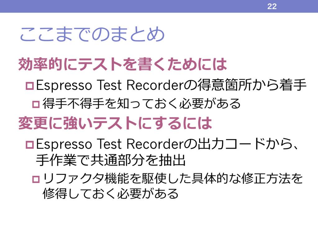 ここまでのまとめ 効率的にテストを書くためには pEspresso Test Recorder...