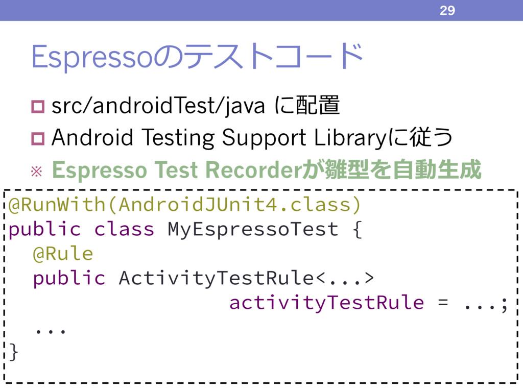 Espressoのテストコード p src/androidTest/java に配置 p An...