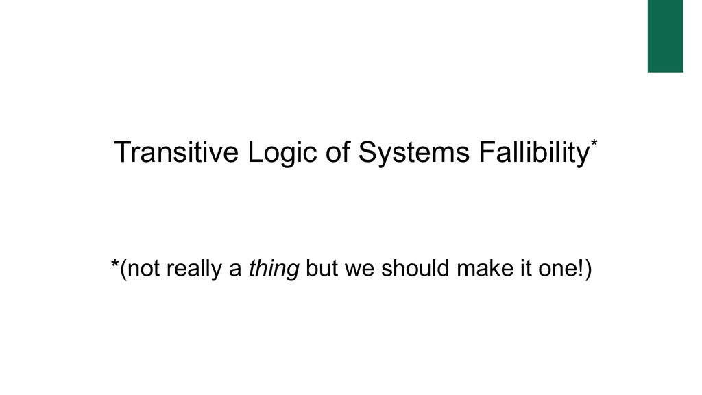 Transitive Logic of Systems Fallibility* *(not ...