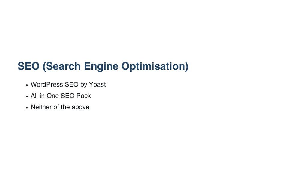 SEO (Search Engine Optimisation) WordPress SEO ...