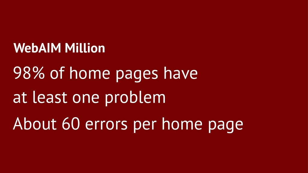 WebAIM Million 98% of home pages have at least ...