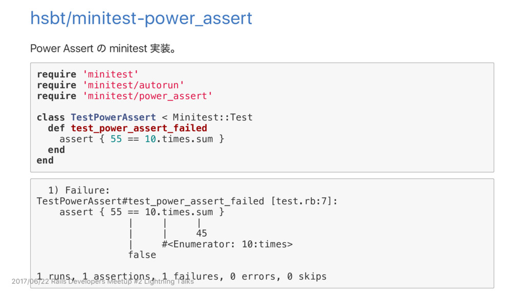 hsbt/minitest‑power_assert Power Assert の minit...