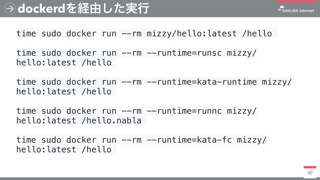 40 dockerdΛܦ༝࣮ͨ͠ߦ time sudo docker run --rm miz...