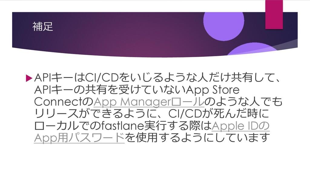 補⾜ uAPIキーはCI/CDをいじるような⼈だけ共有して、 APIキーの共有を受けていないA...