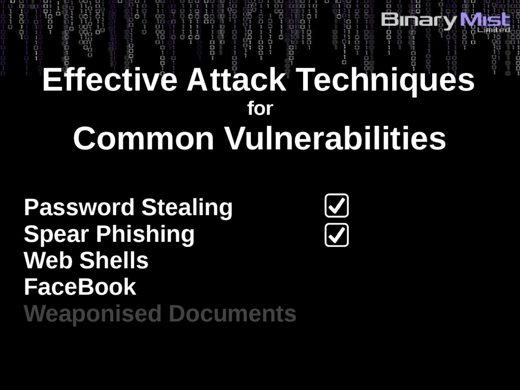 Effective Attack Techniques for Common Vulnerab...