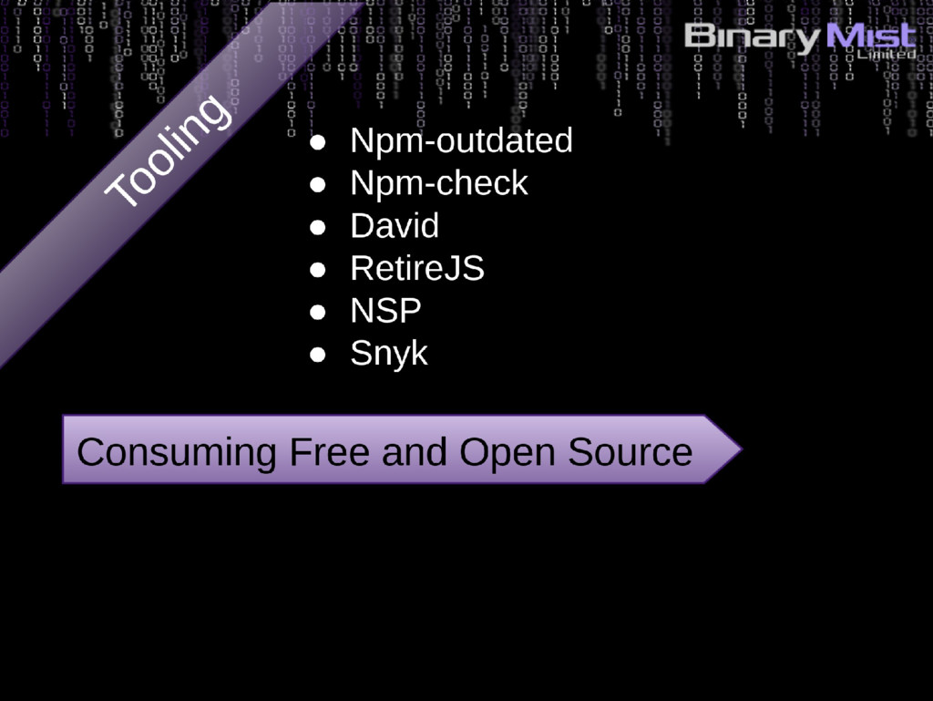 Consuming Free and Open Source ● Npm-outdated ●...
