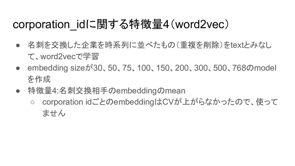 corporation_idに関する特徴量4(word2vec) ● 名刺を交換した企業を時系...