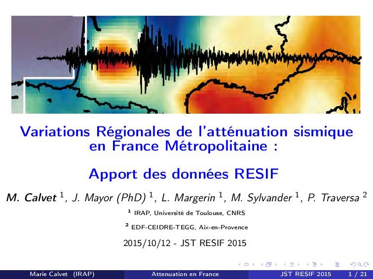 Variations Régionales de l'atténuation sismique...
