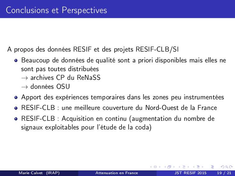 Conclusions et Perspectives A propos des donnée...