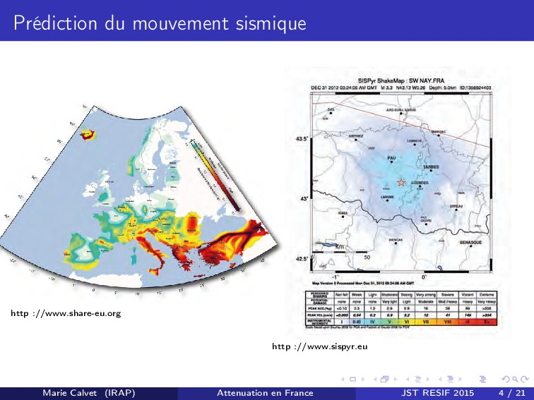 Prédiction du mouvement sismique http ://www.sh...