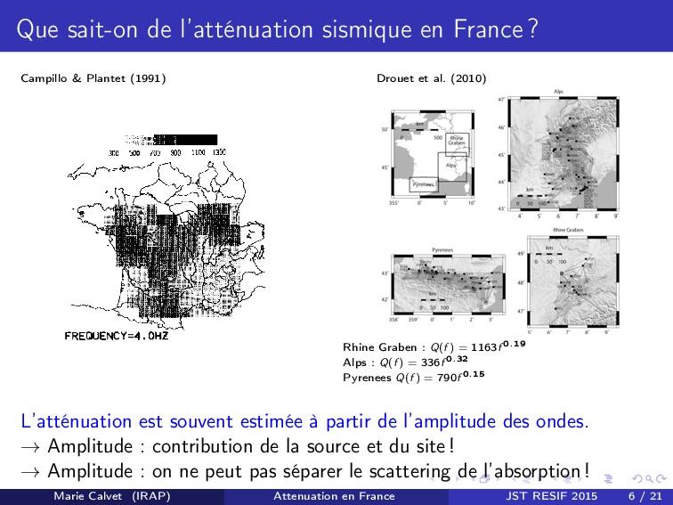 Que sait-on de l'atténuation sismique en France...