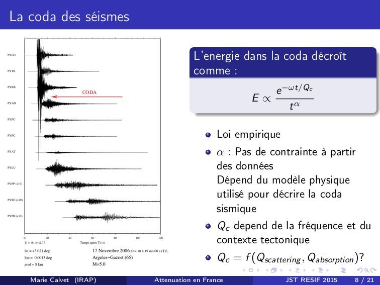 La coda des séismes CODA L'energie dans la coda...