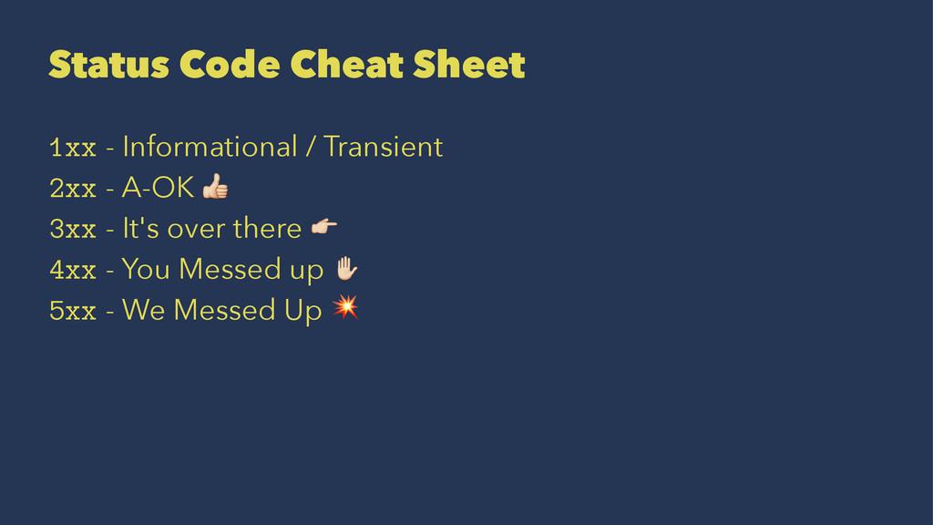Status Code Cheat Sheet 1xx - Informational / T...