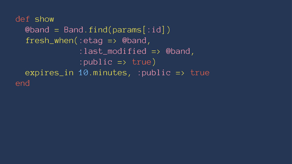 def show @band = Band.find(params[:id]) fresh_w...