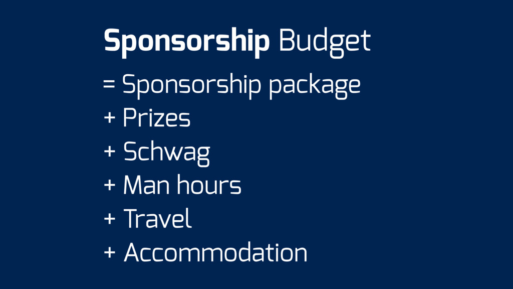 = Sponsorship package + Prizes + Schwag + Man h...