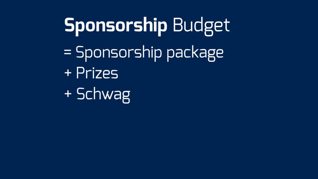 = Sponsorship package + Prizes + Schwag Sponsor...
