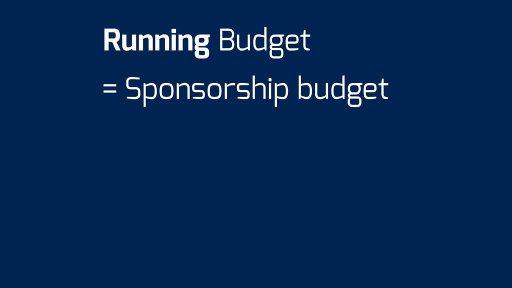 = Sponsorship budget Running Budget