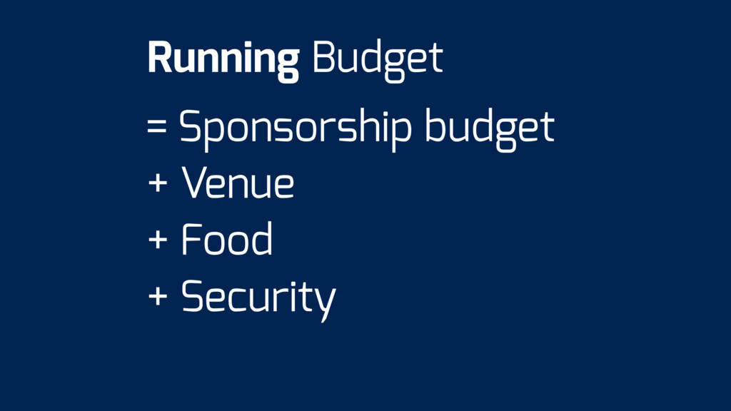 = Sponsorship budget + Venue + Food + Security ...