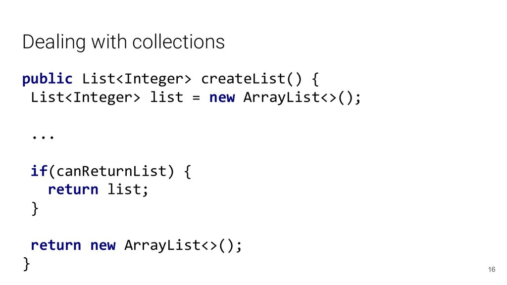 Dealing with collections public List<Integer> c...