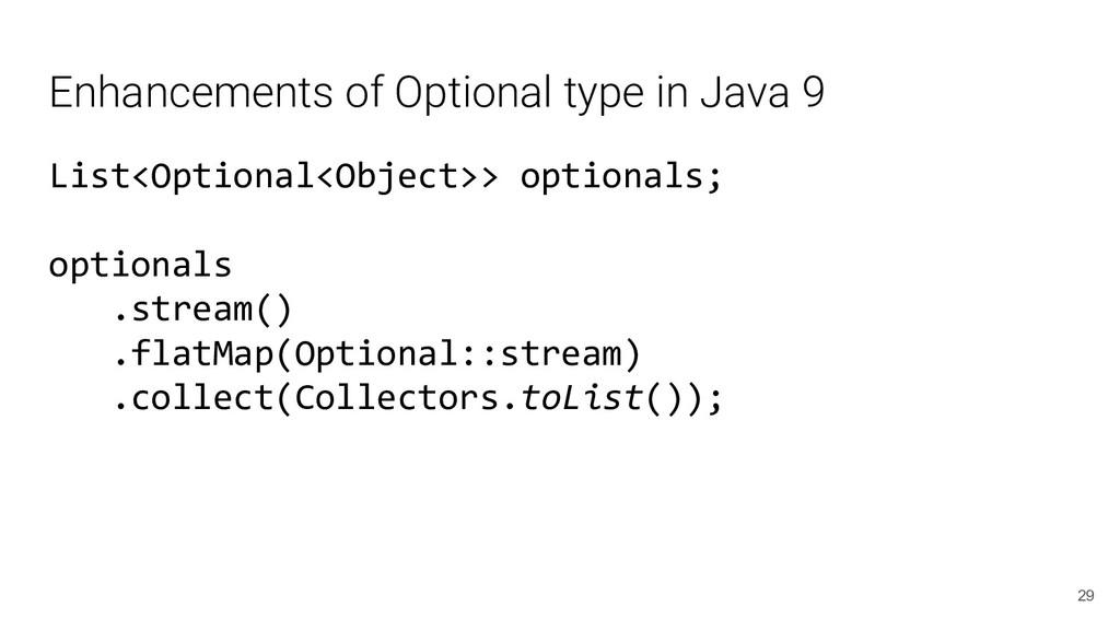 Enhancements of Optional type in Java 9 List<Op...
