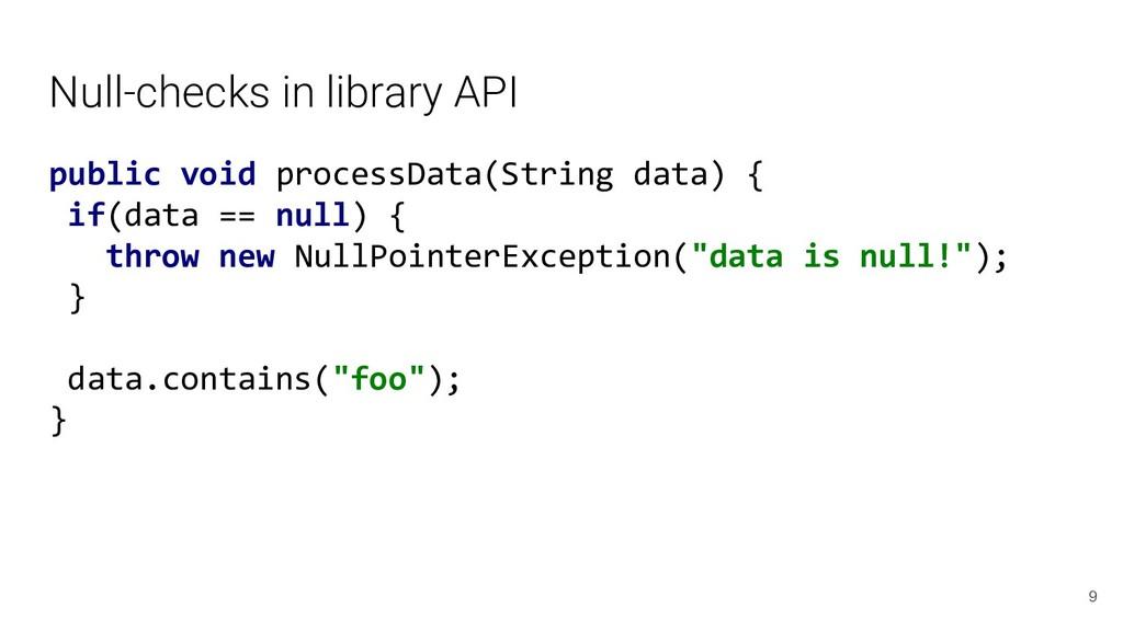Null-checks in library API public void processD...