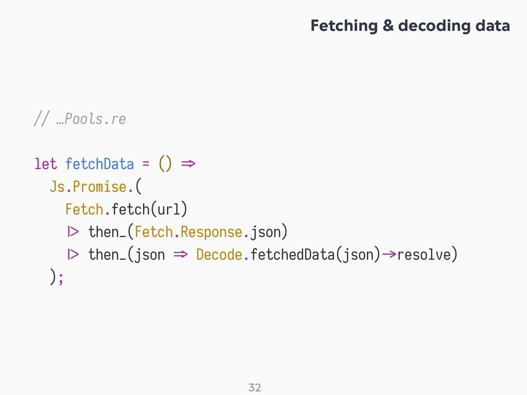 ! 32 // …Pools.re let fetchData = () X> Js.Prom...