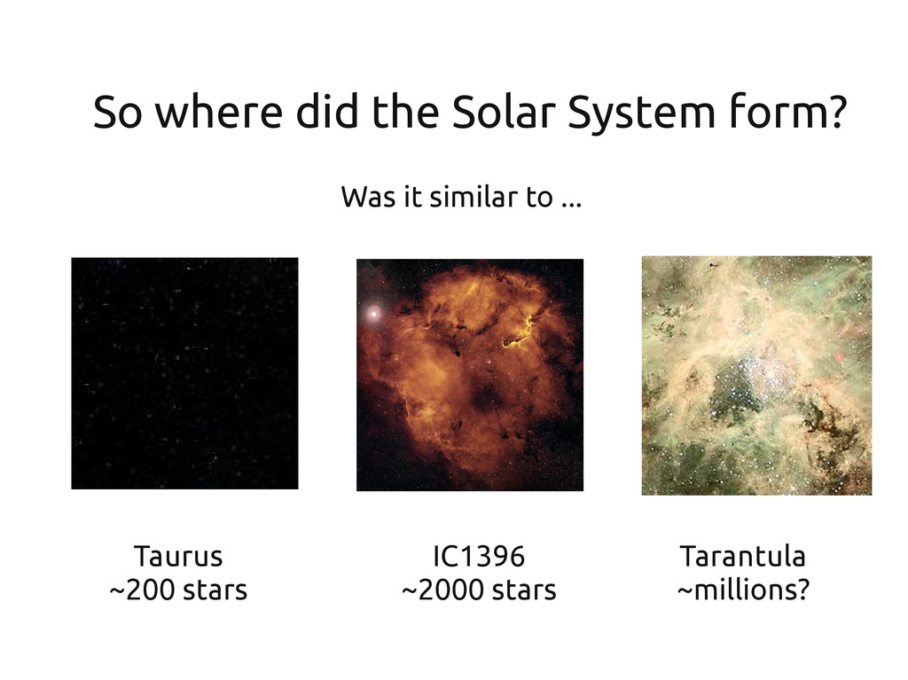 So where did the Solar System form? Taurus ~200...