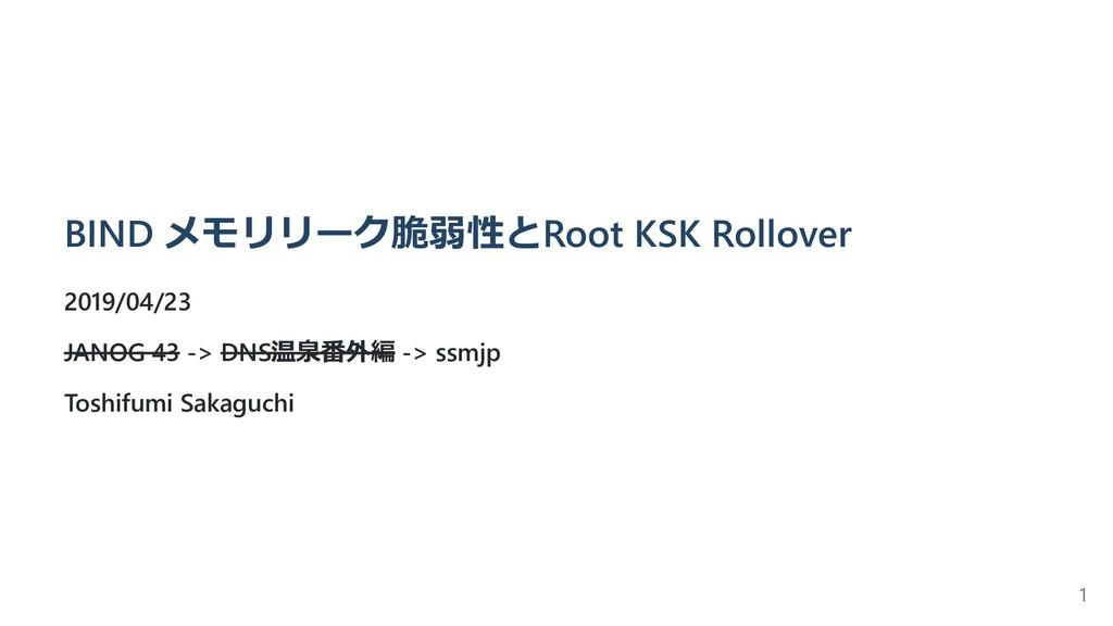BIND メモリリーク脆弱性とRoot KSK Rollover 2019/04/23 JAN...