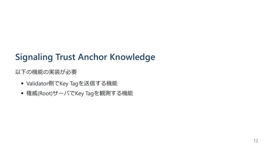Signaling Trust Anchor Knowledge 以下の機能の実装が必要 Va...