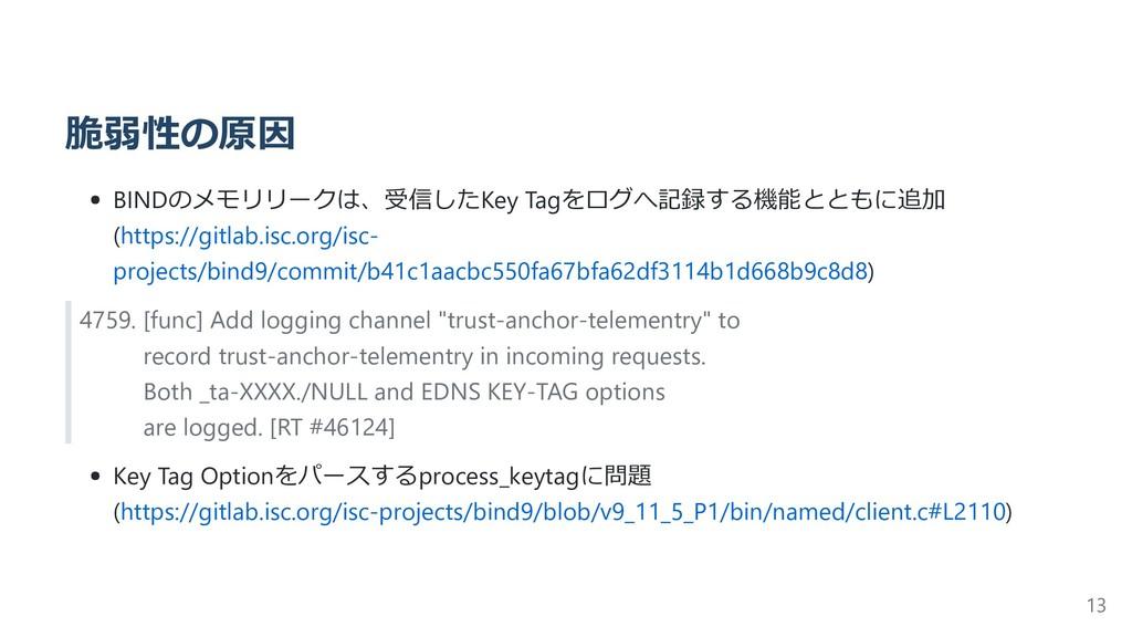 脆弱性の原因 BINDのメモリリークは、受信したKey Tagをログへ記録する機能とともに追加...