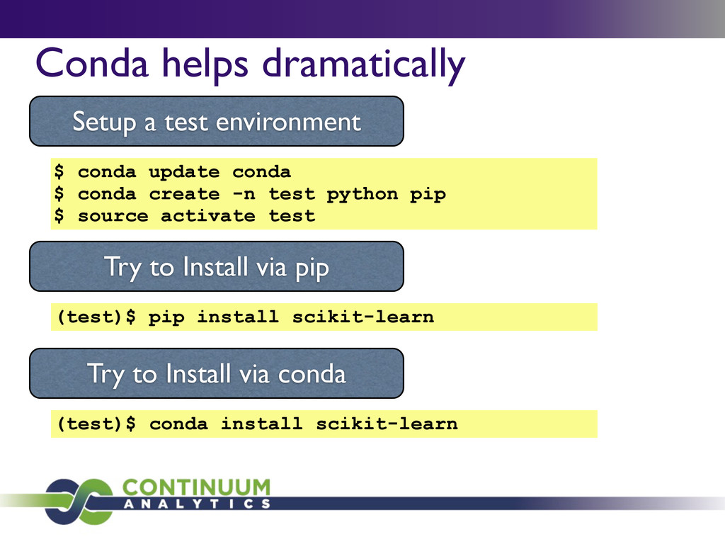 Conda helps dramatically Setup a test environme...