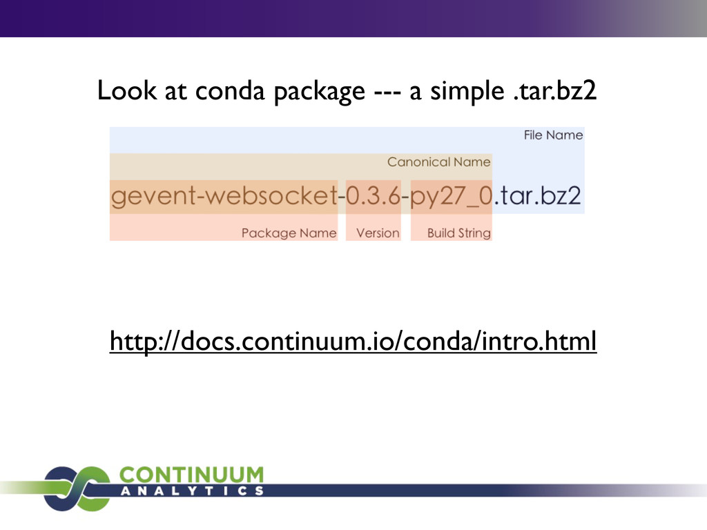Look at conda package --- a simple .tar.bz2 htt...