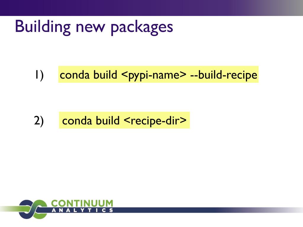 conda build <pypi-name> --build-recipe Building...