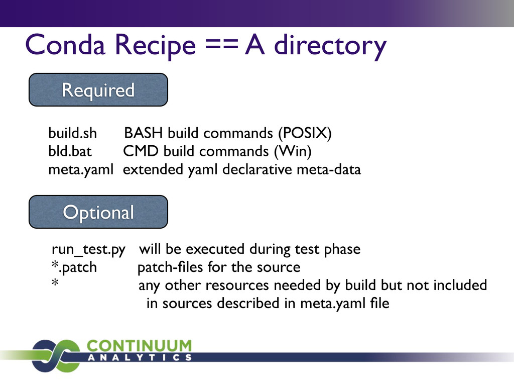 Conda Recipe == A directory build.sh BASH build...
