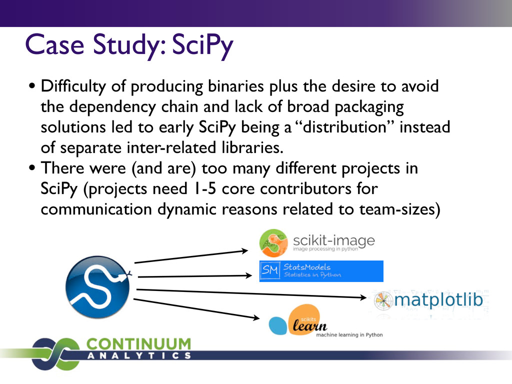 Case Study: SciPy • Difficulty of producing bina...